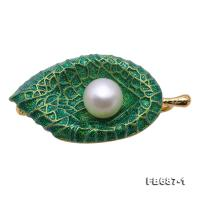 Exquisite Leaf-shape 10.5mm Freshwater Pearl Brooch FB687-1