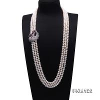 Classical 7.5-8mm Three-Strand White Pearl Necklace FNM120