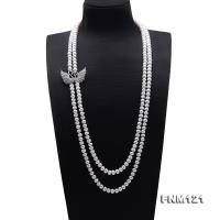 Classical 8-8.5mm Double Strand White Pearl Necklace FNM121