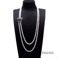 Classical 7.5-8.5mm Double Strand White Pearl Necklace FNM122