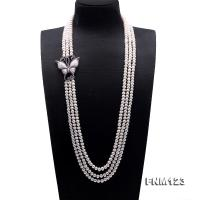 Classical 7-8mm Three-Strand White Pearl Necklace FNM123