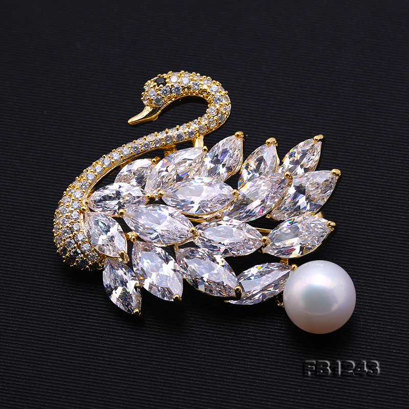 Exquisite Swan-shape 11mm Freshwater Pearl Brooch big Image 5