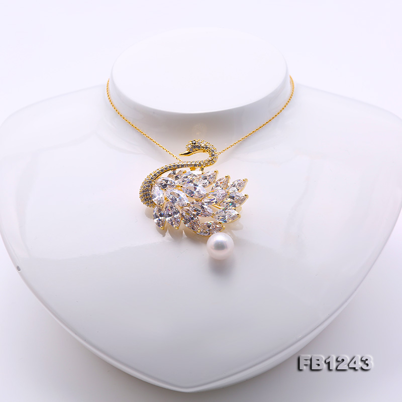 Exquisite Swan-shape 11mm Freshwater Pearl Brooch big Image 6