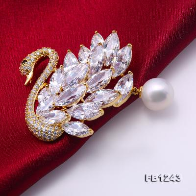 Exquisite Swan-shape 11mm Freshwater Pearl Brooch FB1243 Image 4
