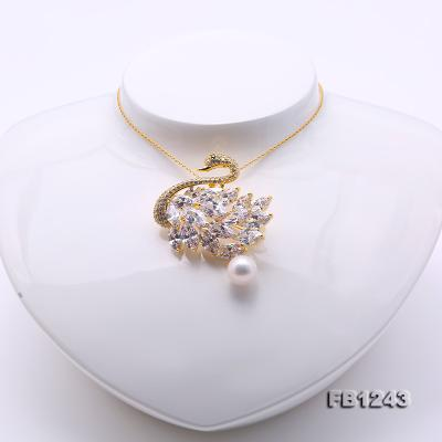 Exquisite Swan-shape 11mm Freshwater Pearl Brooch FB1243 Image 6