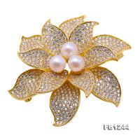 Delicate Zircon-inlaid 7mm White Freshwater Pearl Brooch FB1244