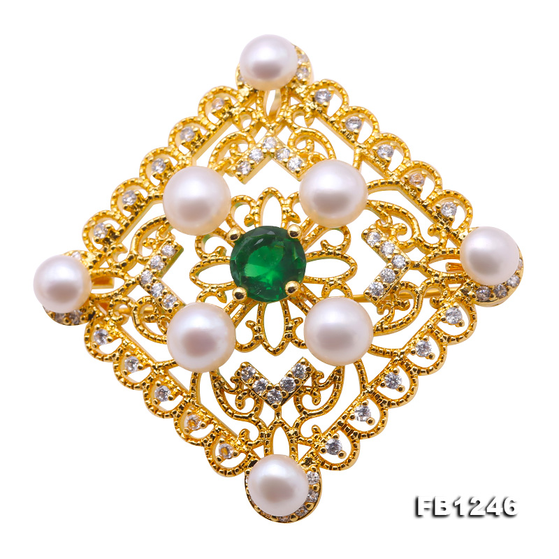 Delicate Zircon-inlaid 5-6mm White Freshwater Pearl Brooch/Pendant big Image 1