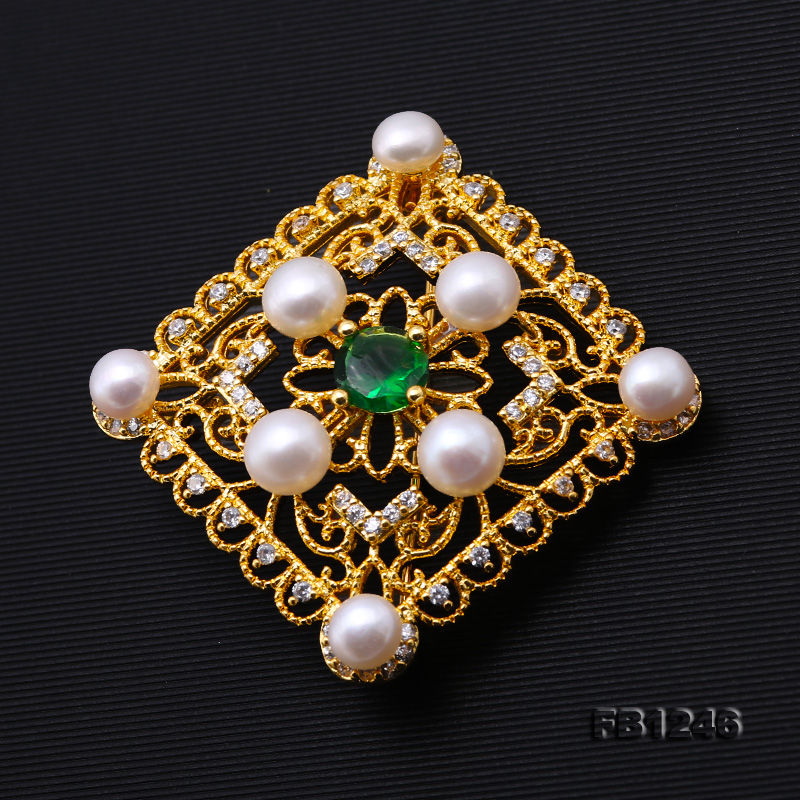 Delicate Zircon-inlaid 5-6mm White Freshwater Pearl Brooch/Pendant big Image 3