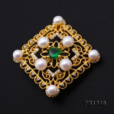 Delicate Zircon-inlaid 5-6mm White Freshwater Pearl Brooch/Pendant FB1246 Image 3