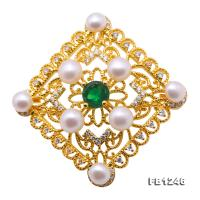 Delicate Zircon-inlaid 5-6mm White Freshwater Pearl Brooch/Pendant FB1246