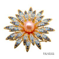 Lustrous 9.5mm Salmon Round Freshwater Pearl Brooch/Pendant FB1248