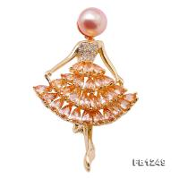 High Quality Ballet Dancer 9mm Lavender Pearl Brooch FB1249