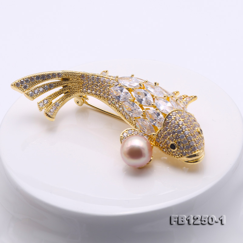 Exquisite Carp-shape 9.5mm Lavender Freshwater Pearl Brooch big Image 3