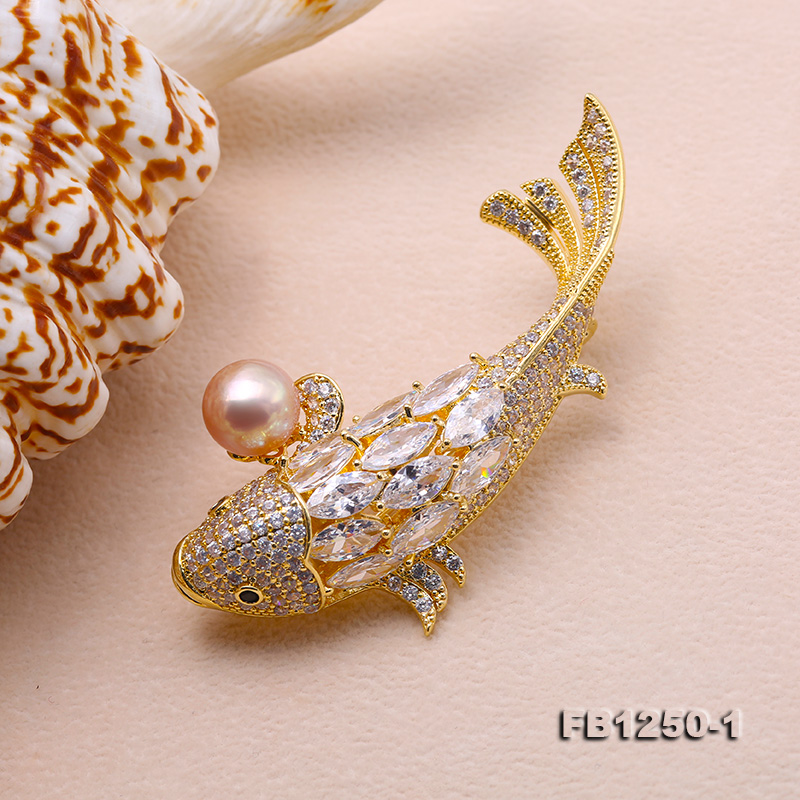 Exquisite Carp-shape 9.5mm Lavender Freshwater Pearl Brooch big Image 5