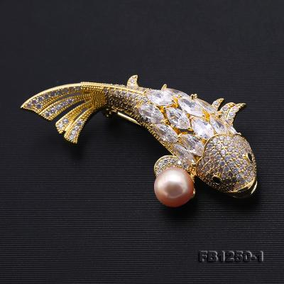 Exquisite Carp-shape 9.5mm Lavender Freshwater Pearl Brooch FB1250-1 Image 6