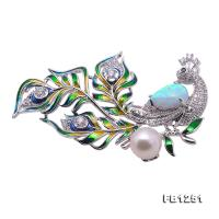 Wonderful Phoenix-shape 9mm White Pearl Brooch FB1251