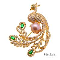 Wonderful Phoenix-shape 9mm Lavender Pearl Brooch FB1252