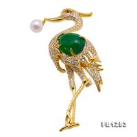 Wonderful Bird-shape 7mm White Akoya Pearl Brooch FB1253