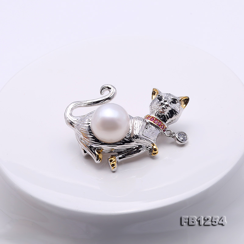 Lovely Cat-shape 10.5mm White Pearl Brooch big Image 3