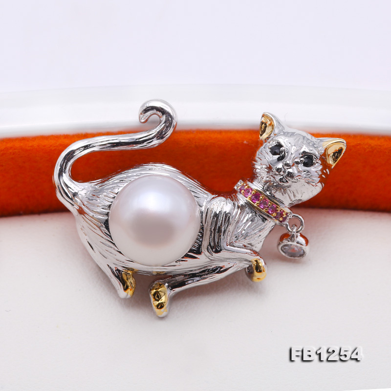 Lovely Cat-shape 10.5mm White Pearl Brooch big Image 4