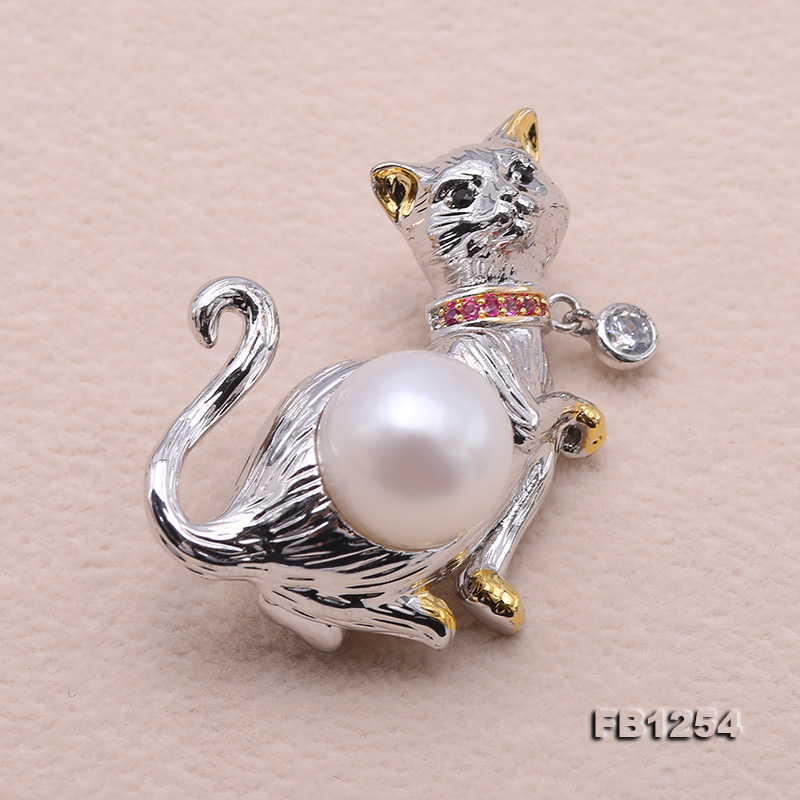 Lovely Cat-shape 10.5mm White Pearl Brooch big Image 5