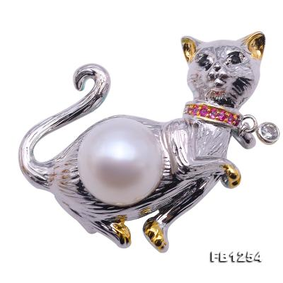 Lovely Cat-shape 10.5mm White Pearl Brooch FB1254 Image 1