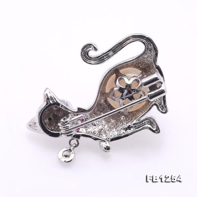 Lovely Cat-shape 10.5mm White Pearl Brooch FB1254 Image 2