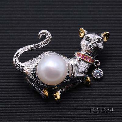 Lovely Cat-shape 10.5mm White Pearl Brooch FB1254 Image 6