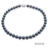 Beautiful 10.5-11mm Black Freshwater Pearl Necklace RPN412