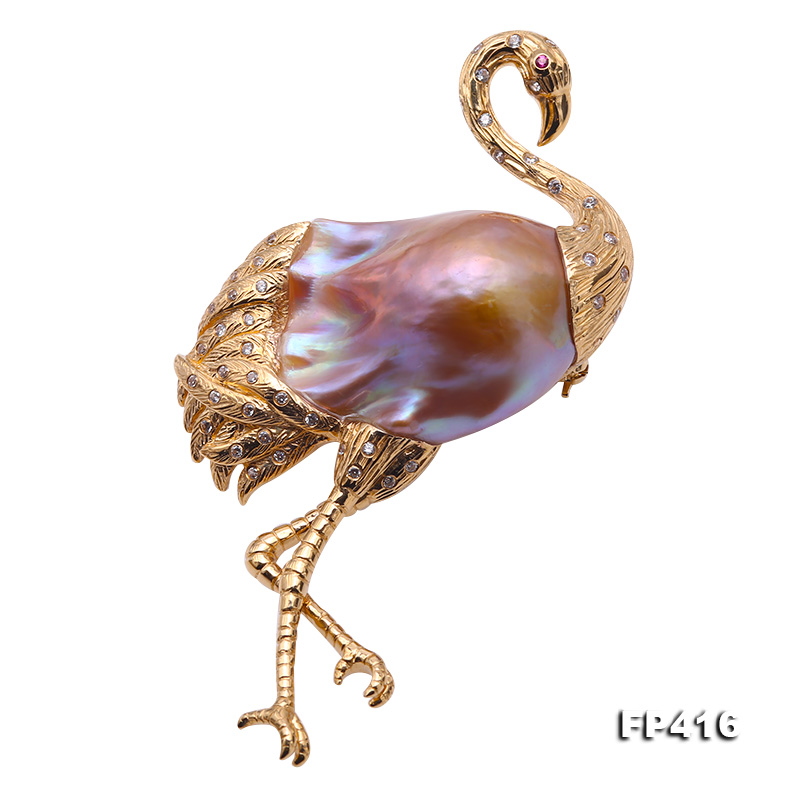 Luxurious Crane-Shape Lavender Baroque Pearl Pendant/Brooch in 18k Gold & Diamonds big Image 1