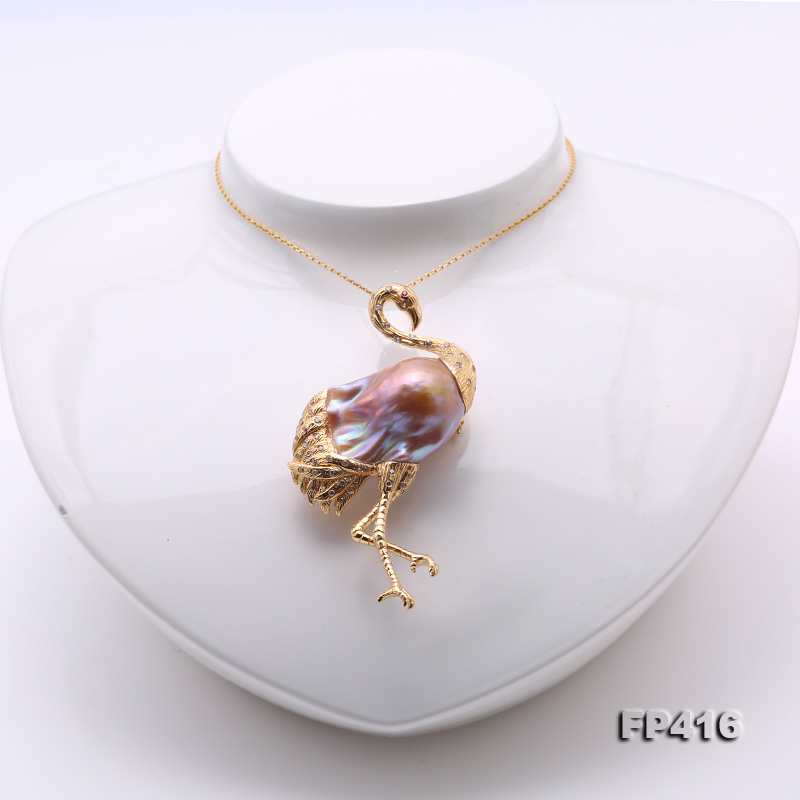 Luxurious Crane-Shape Lavender Baroque Pearl Pendant/Brooch in 18k Gold & Diamonds big Image 6