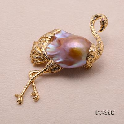 Luxurious Crane-Shape Lavender Baroque Pearl Pendant/Brooch in 18k Gold & Diamonds FP416 Image 4