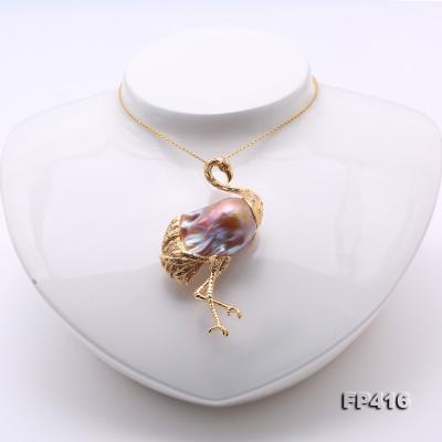 Luxurious Crane-Shape Lavender Baroque Pearl Pendant/Brooch in 18k Gold & Diamonds FP416 Image 6
