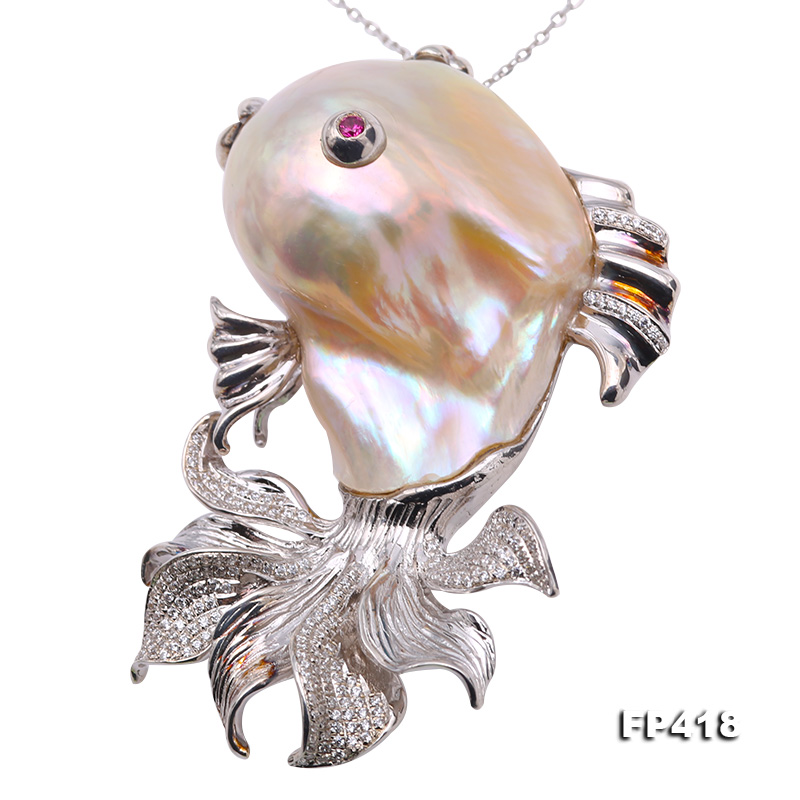 Luxurious Goldfish Pink Baroque Pearl Pendant/Brooch in 925 Sterling Silver big Image 1