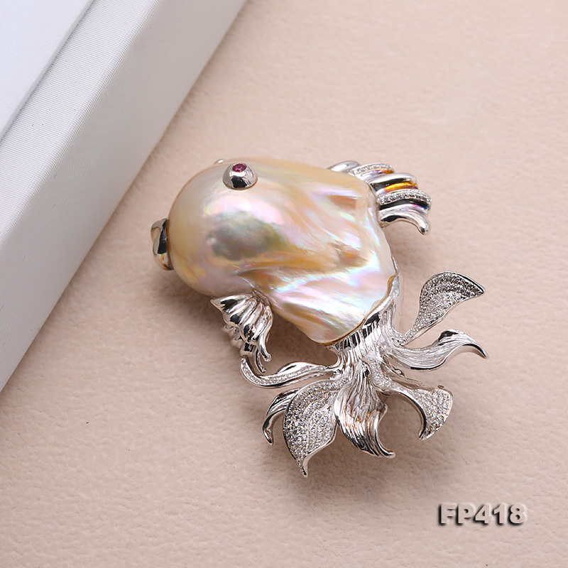 Luxurious Goldfish Pink Baroque Pearl Pendant/Brooch in 925 Sterling Silver big Image 3