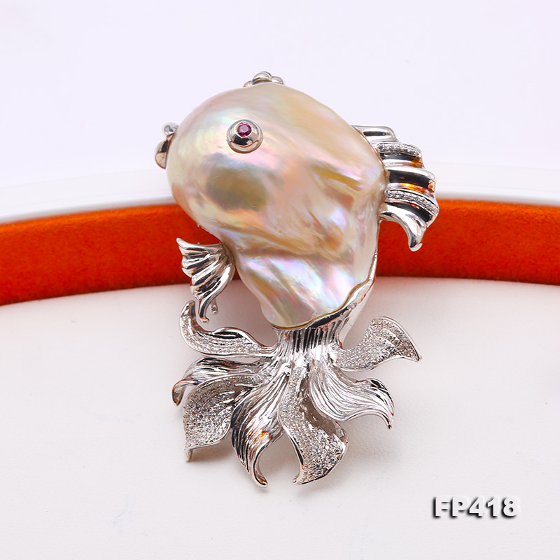Luxurious Goldfish Pink Baroque Pearl Pendant/Brooch in 925 Sterling Silver big Image 4