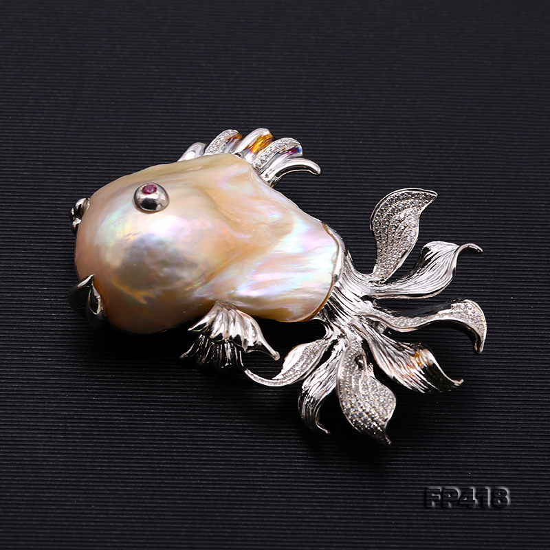 Luxurious Goldfish Pink Baroque Pearl Pendant/Brooch in 925 Sterling Silver big Image 5