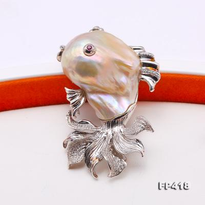 Luxurious Goldfish Pink Baroque Pearl Pendant/Brooch in 925 Sterling Silver FP418 Image 4
