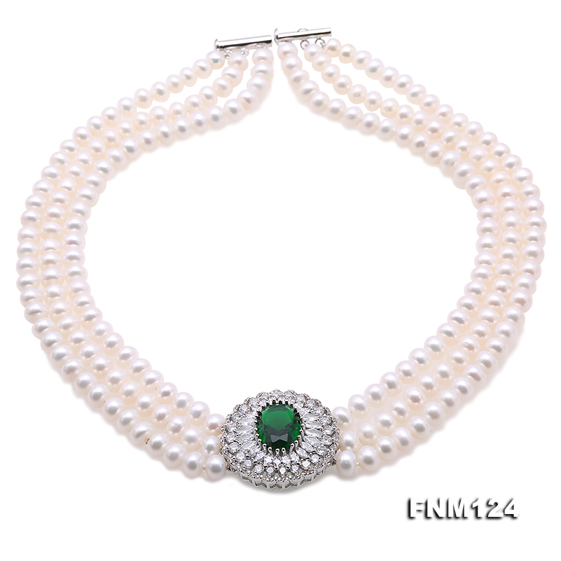 Beautiful Three-strand 7-7.5mm White Freshwater Pearl Necklace big Image 2