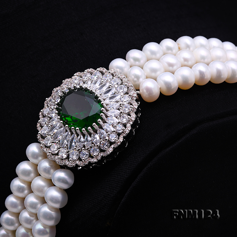 Beautiful Three-strand 7-7.5mm White Freshwater Pearl Necklace big Image 3