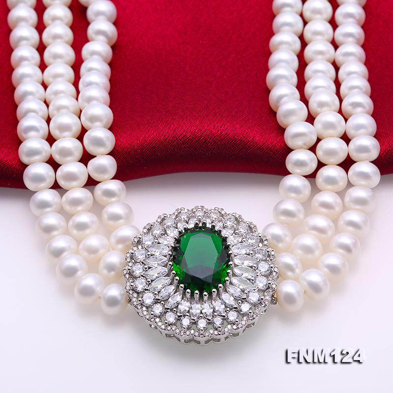 Beautiful Three-strand 7-7.5mm White Freshwater Pearl Necklace big Image 5