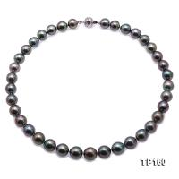 Top Grade Mysterious 10-11.5mm Black Round Tahiti Pearl Necklace FP41