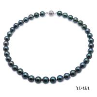 Top Grade Mysterious 10-11.5mm Peacock Green Round Tahiti Pearl Necklace TP161