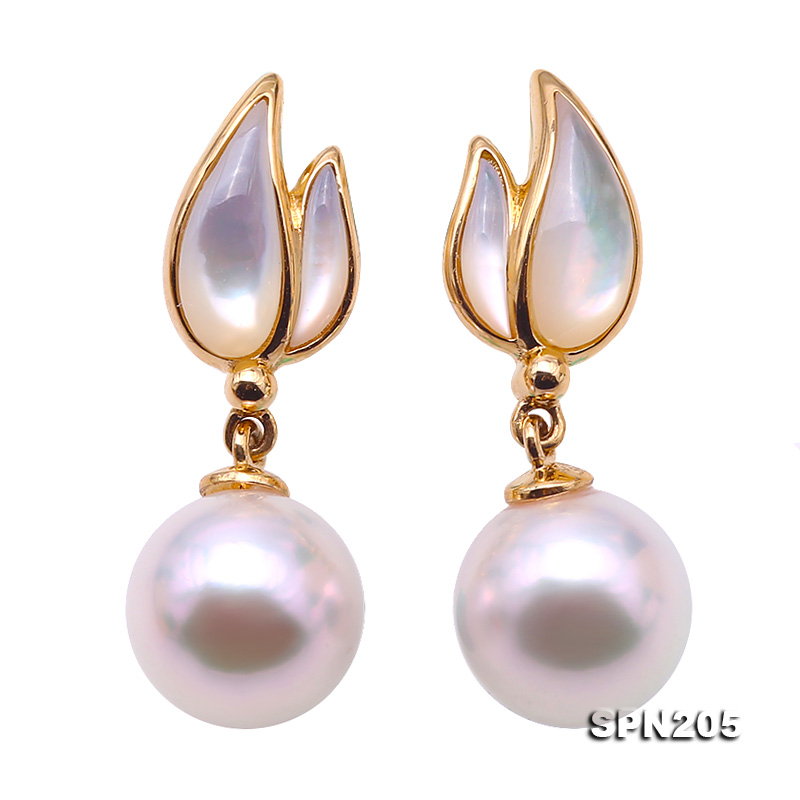 Gorgeous 8.5mm White Akoya Pearl Earrings in 18k Gold big Image 2