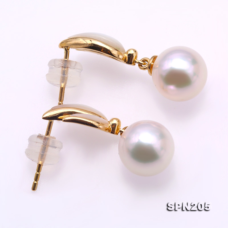 Gorgeous 8.5mm White Akoya Pearl Earrings in 18k Gold big Image 3
