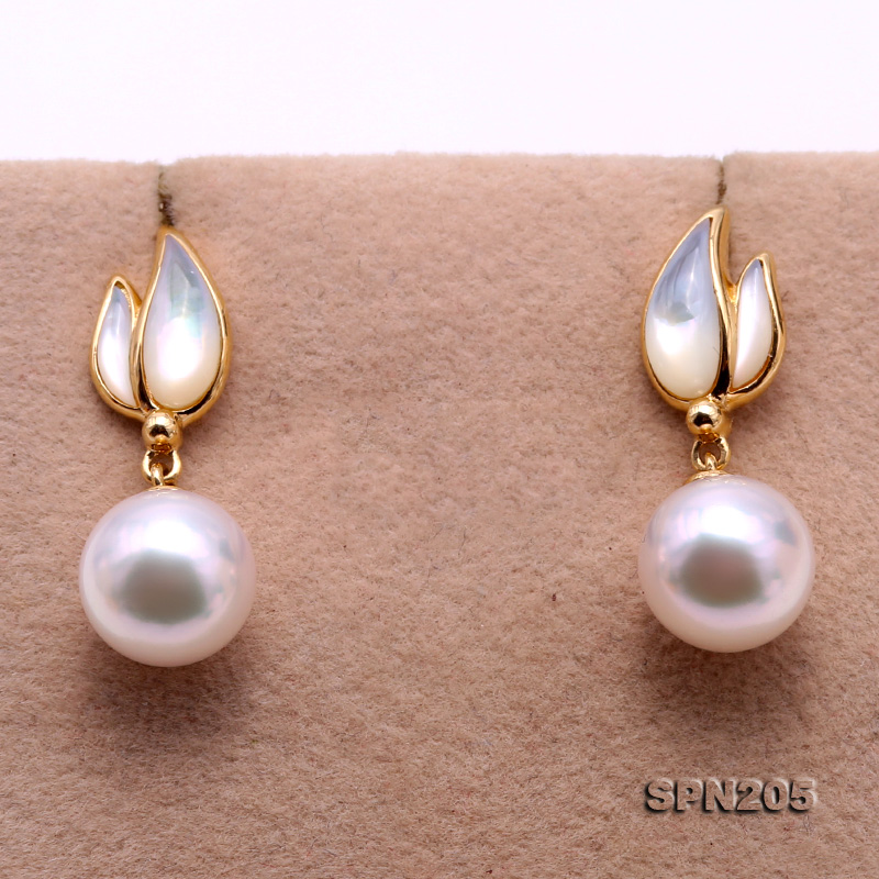 Gorgeous 8.5mm White Akoya Pearl Earrings in 18k Gold big Image 6