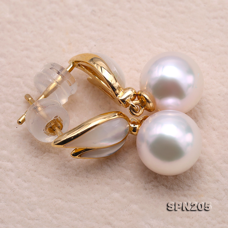 Gorgeous 8.5mm White Akoya Pearl Earrings in 18k Gold big Image 7