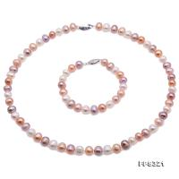 Beautiful 8-9mm Multi-Color Pearl Necklace Bracelet Set FPS321