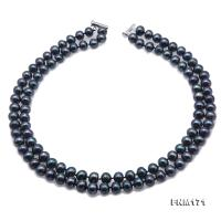 Classical 8.5-9.5mm Black Pearl Double-Strand Necklace FNM171