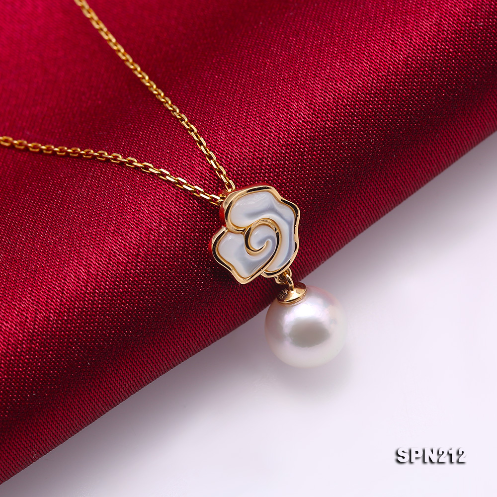 Gorgeous 8-8.5mm White Akoya Pearl Pendant in 18k Gold big Image 5